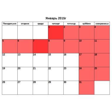 Календарь на 2015 год помесячно
