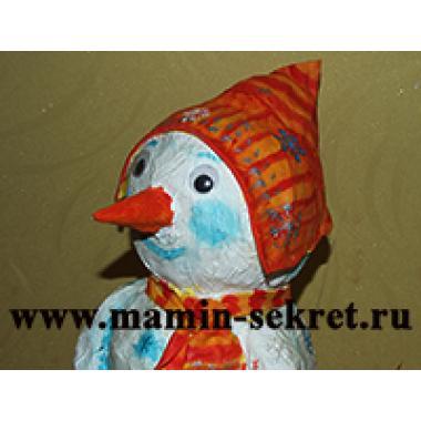 Снеговик из папье-маше своими руками